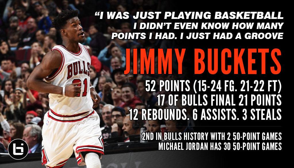 Jimmy Butler Scores 52, 17 of Bulls Final 21 Points vs Hornets