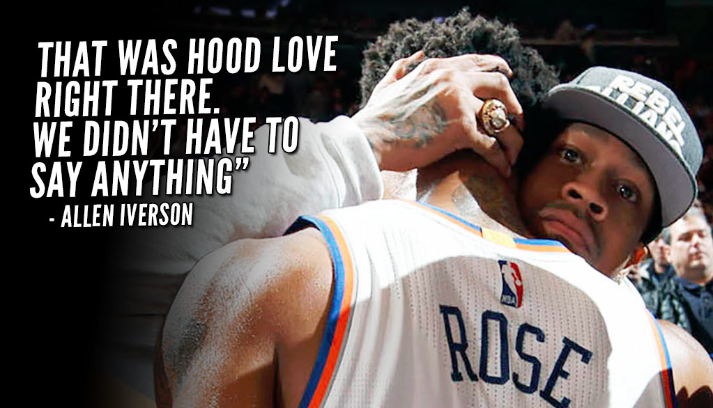 """Allen Iverson Embraces Derrick Rose, Says """"That was hood love right there"""""""