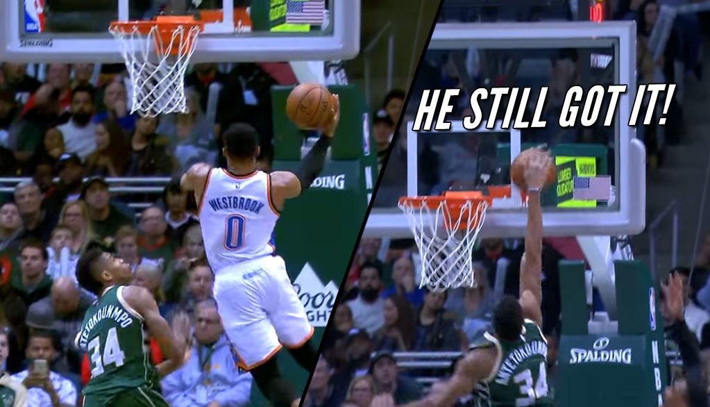 Giannis Antetokounmpo's Nasty Block on Russell Westbrook Converted A Westbrook Fan
