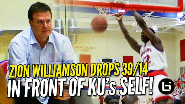 Zion Williamson Bullies His Way to 39 & 14 in Front of KU's Bill Self! Raw Highlights!