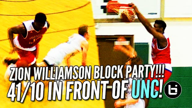 Zion Williamson Goes Off The Backboard in Front of UNC's Roy Williams!!! 41/10 Raw Highlights!