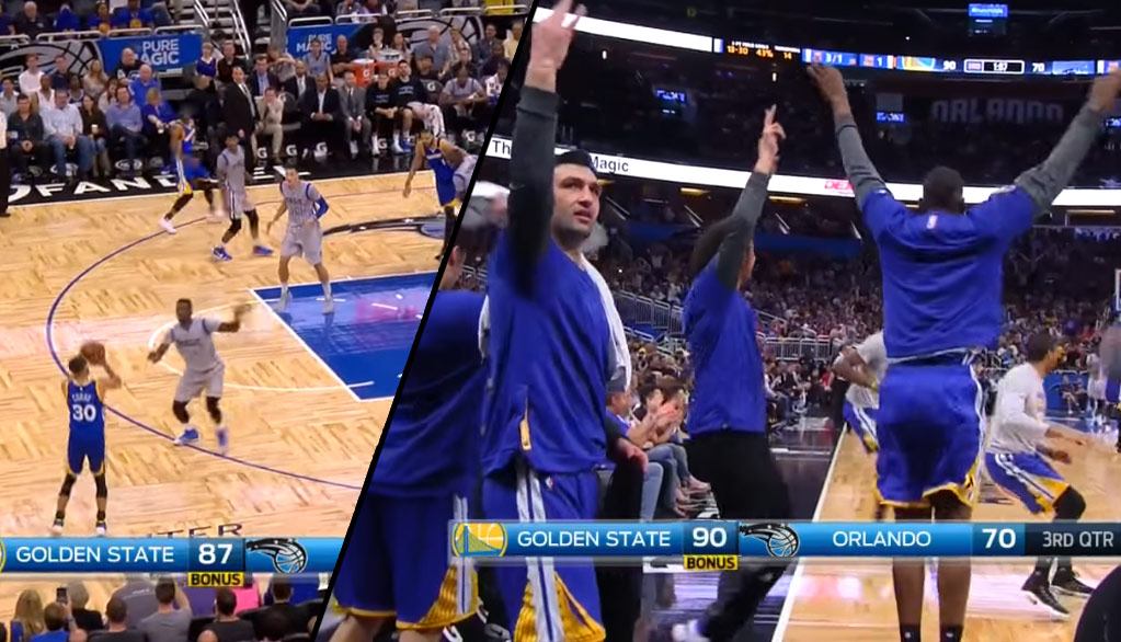 Warriors Bench Goes Crazy After A Deep 3 By Magic Killer Steph Curry