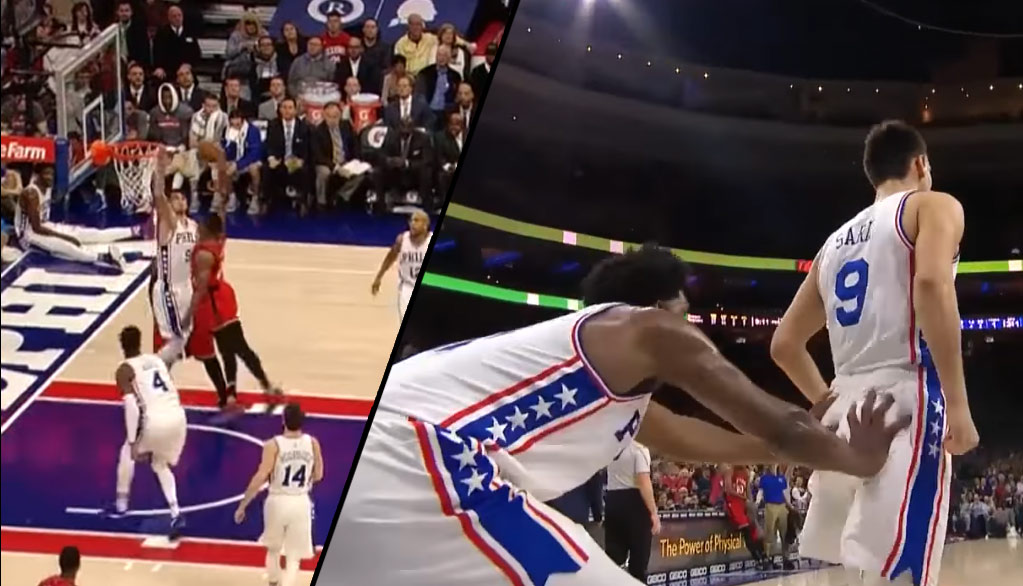 Joel Embiid Cops A Feel On Dario Saric's Butt After Back-to-Back Dunk Rejections