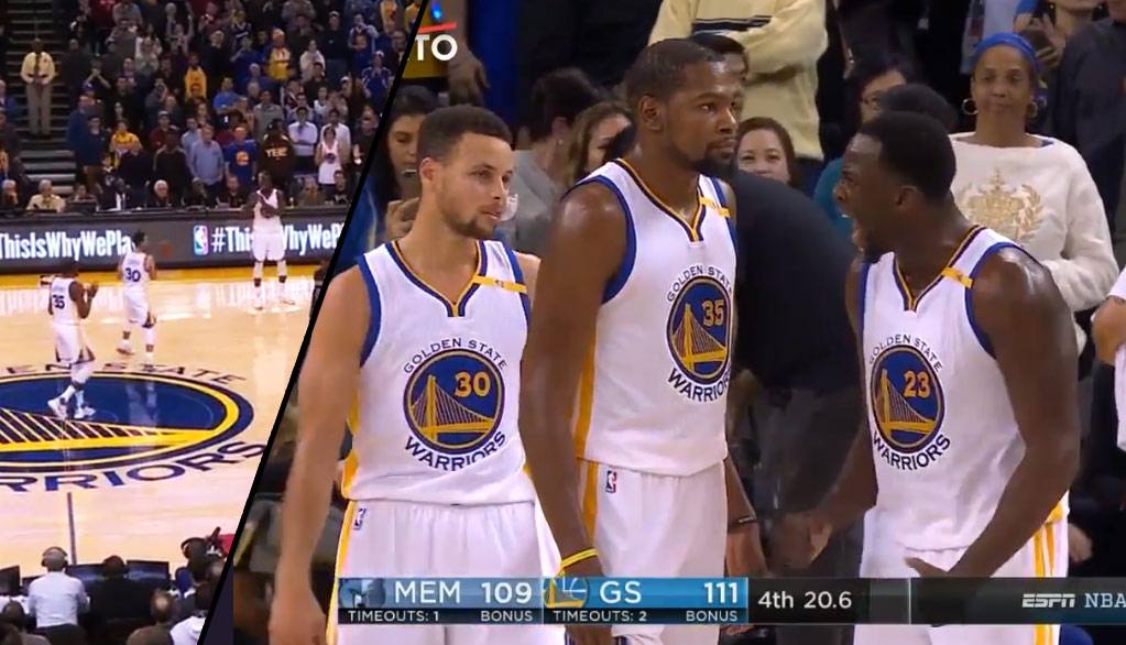 Draymond Green Loses It After Curry Passes To Durant Near The End of Warriors 4th Quarter Collapse