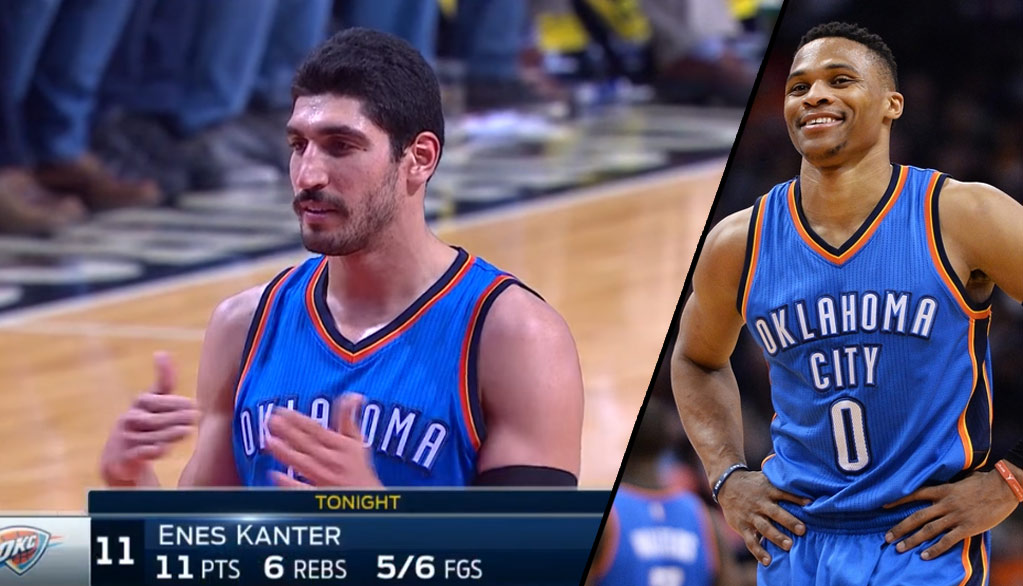 Enes Kanter Jokingly Gives Ref A Tech For Hitting Him With The Ball