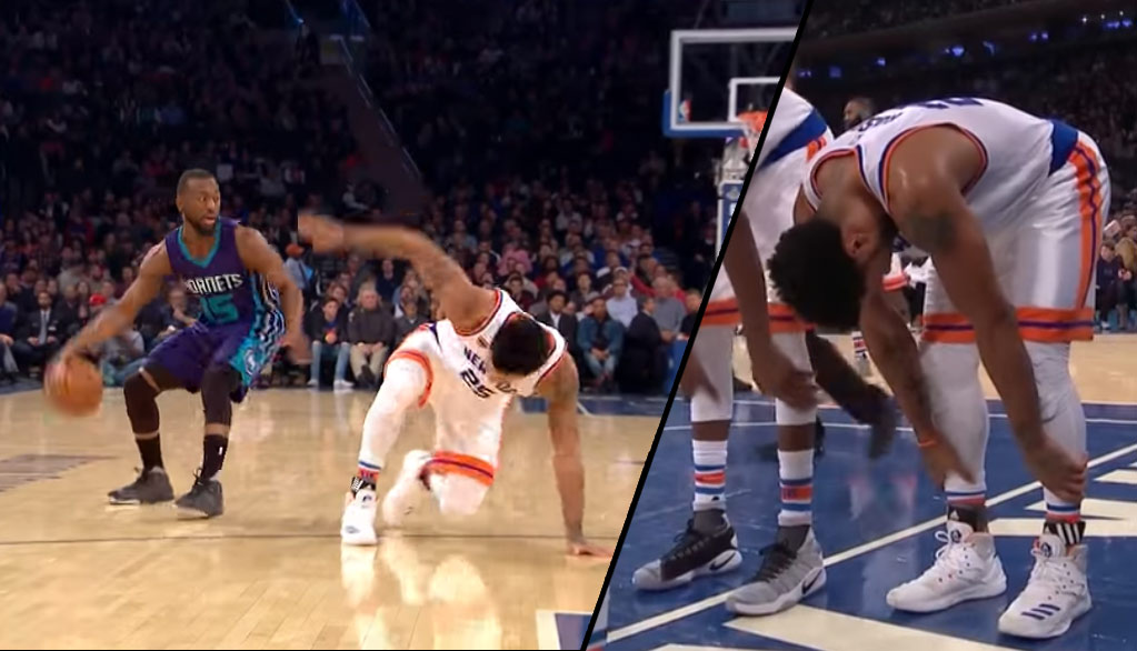 Derrick Rose Gets Crossed By Kemba Walker, Later Leaves Game With Ankle Injury