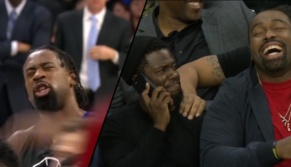 Kevin Hart Reacts To DeAndre Jordan Airballing Back-To-Back Free Throws!