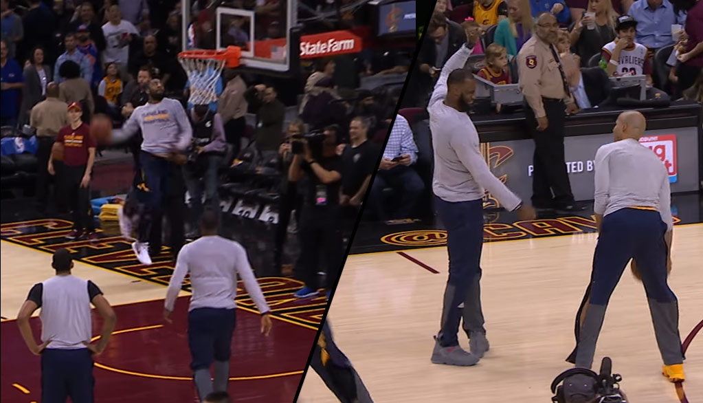 Kyrie Irving Shocks LeBron and Richard Jefferson With A Windmill Off The Bounce Dunk Attempt