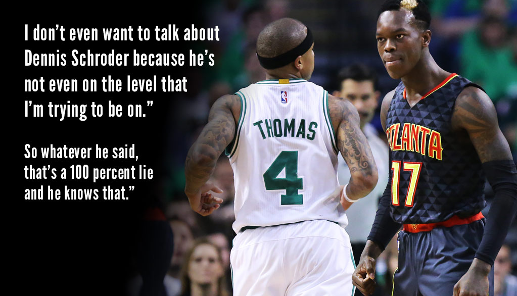 "Isaiah Thomas Rips Dennis Schroder Over ""Lies"" About Cursing At His Mom"