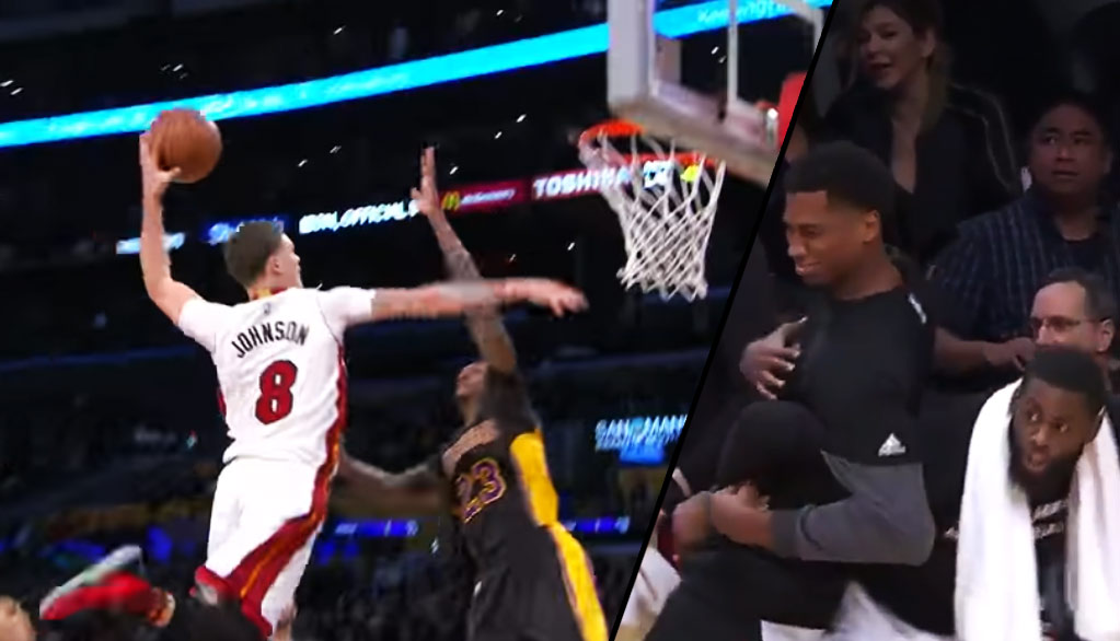 Tyler Johnson's Poster Dunk On Lou Williams Almost Gave Whiteside A Heart Attack