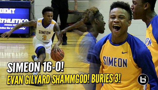 Evan Gilyard Shammgod, Stepback 3 Leads Simeon (16-0) vs Fenwick!