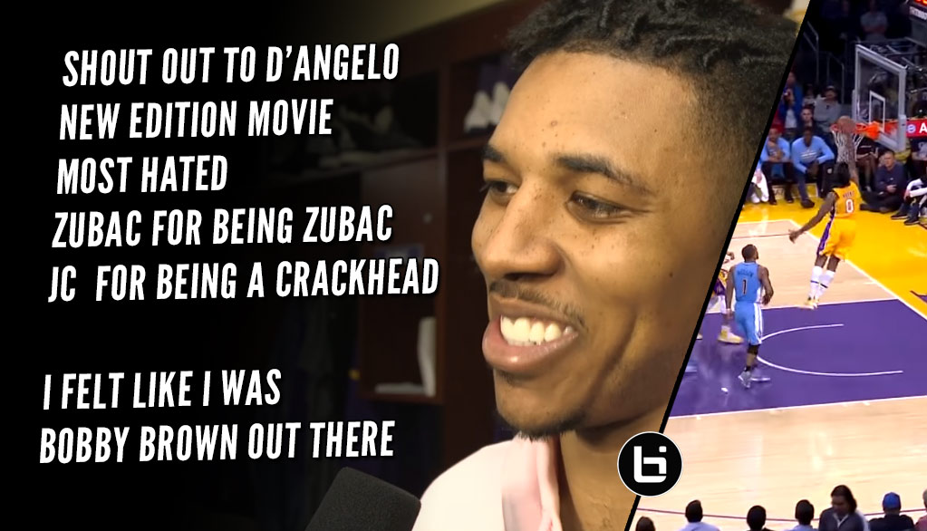 Nick Young Gives An Awards Speech After Lakers Win, Calls Clarkson A Crackhead.