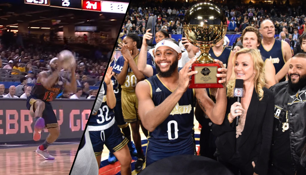 NBA Impersonator Brandon Armstrong Wins Celeb Game MVP (16 Points, 15 Boards & 1 Great James Harden Euro-Step)