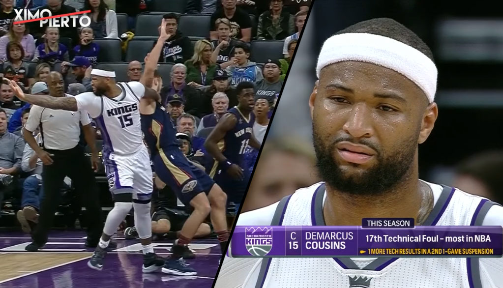 DeMarcus Cousins Picks Up 17th Tech On Inadvertent Slap To The Face Of Motiejunas
