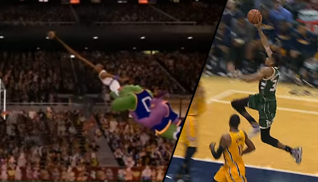 Giannis Antetokounmpo Recreates Michael Jordan's Stretch Dunk From The FT Line In Space Jam