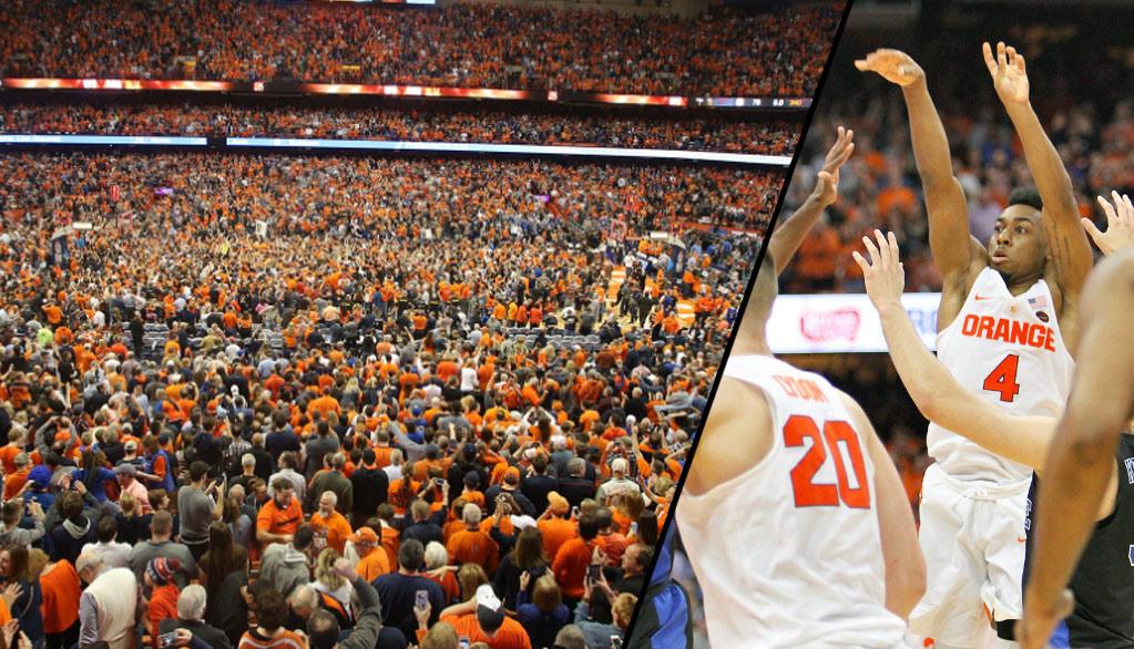 Syracuse Fans Storm The Court After John Gillon Hits Game-Winning Bank Shot vs Duke