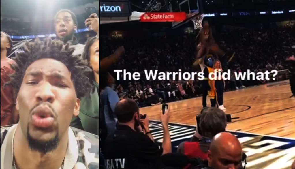 Joel Embiid Records Fan Yelling Warriors Blew A 3-1 Lead As GRIII Wins The Dunk Contest