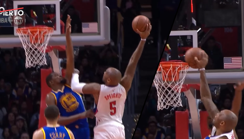 Mo Speights Tries To Dunk On Durant & Gets Rejected By The Rim