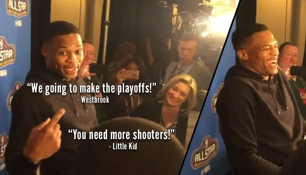 Little Kid Steals Show As Russell Westbrook Ignores Multiple Media Questions About Durant