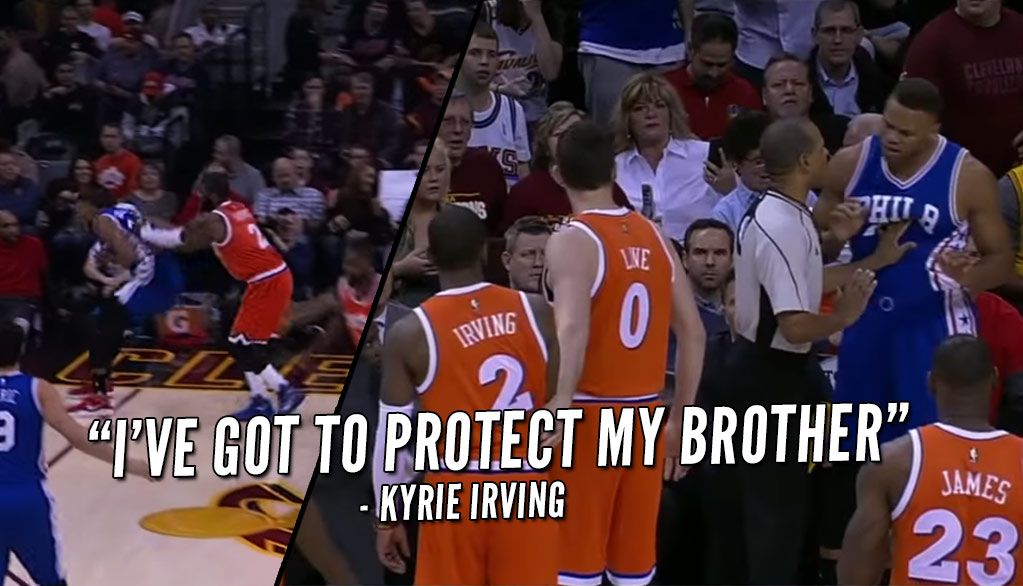 Kyrie Irving Shoves Justin Anderson Out Of Bounds For Knocking Down LeBron