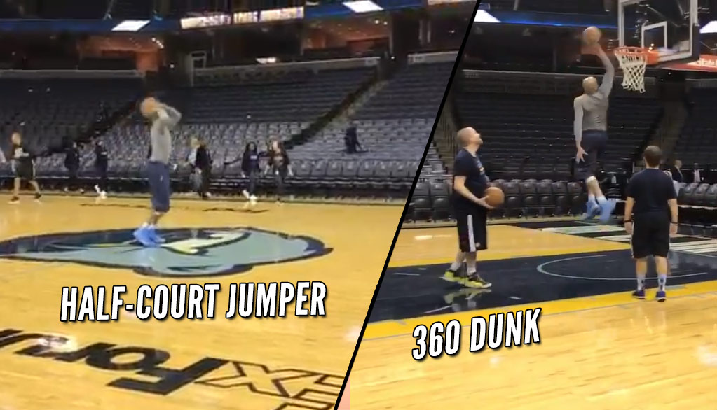 40-Year Old Vince Carter Casually Drains Half-Court Shot On First Try Then Does A 360 Dunk