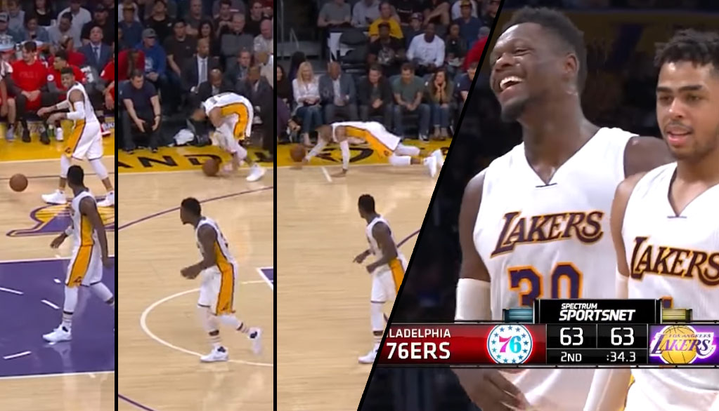 D'Angelo Russell Falls While Trying To Pick Up The Ball
