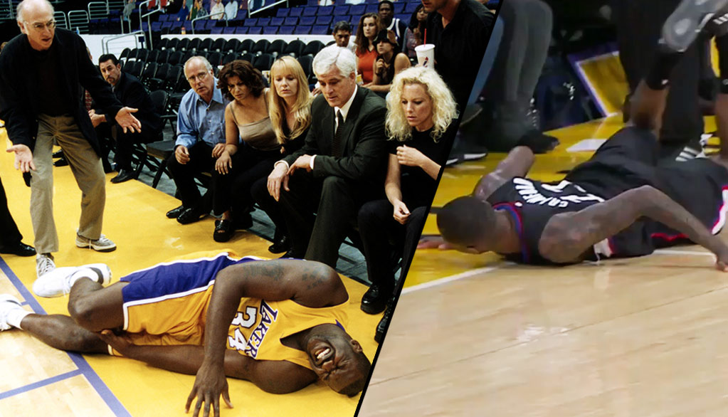 Jamal Crawford Tripping On A Fan At Staples Reminded Us Of This Larry David & Shaq Moment