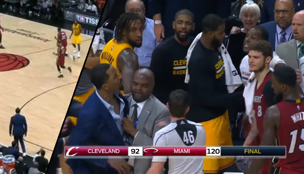 Injured JR Smith Had To Be Held Back By Security After Rodney McGruder Pushed Channing Frye
