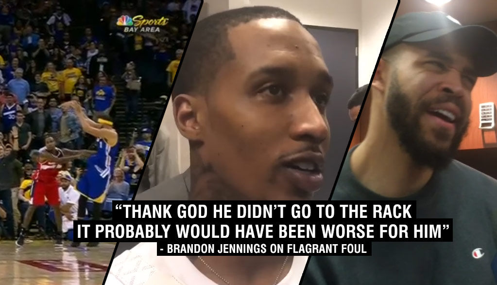 """Brandon Jennings Pushes JaVale McGee For Taking A """"Disrespectful"""" Three During Warriors Blowout Win"""
