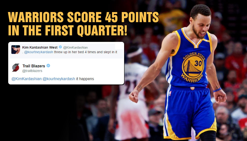The Warriors Historic 45 Point 1st Quarter Had The Blazers Tweeting Hilarious Sad Stuff