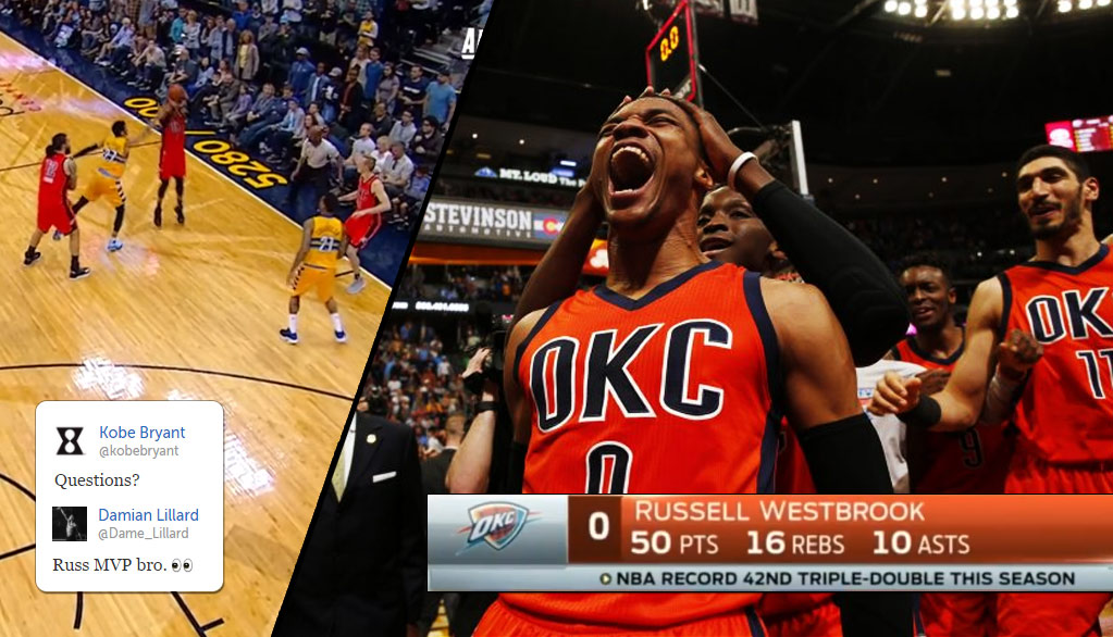 NBA Players React To Russell Westbrook Breaking The Triple-Double Record With 50 Points (& Game Winner)