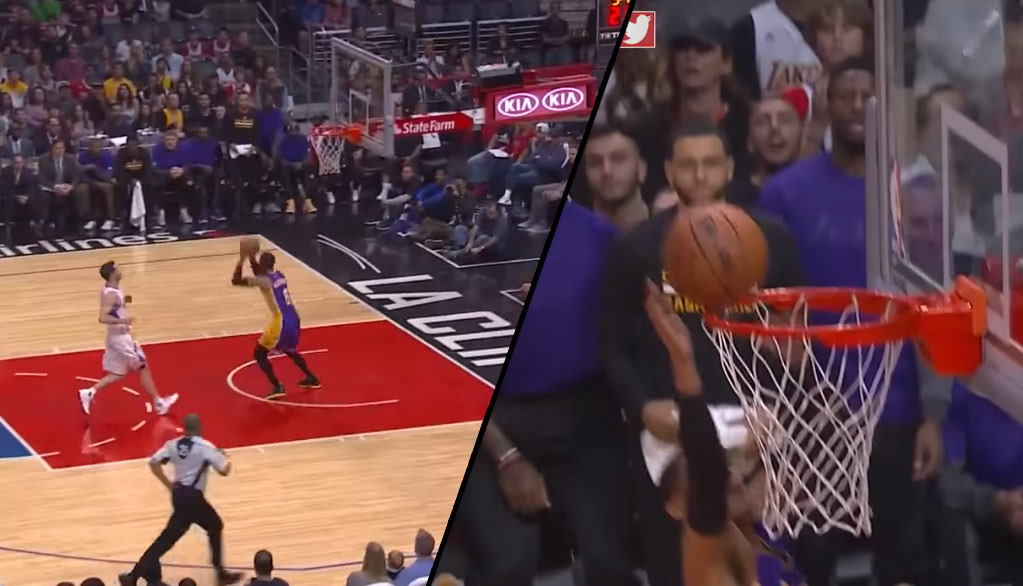 """Jordan Clarkson With The Barely-Got-Over-The-Rim 360 """"Dunk"""" Vs The Clippers"""