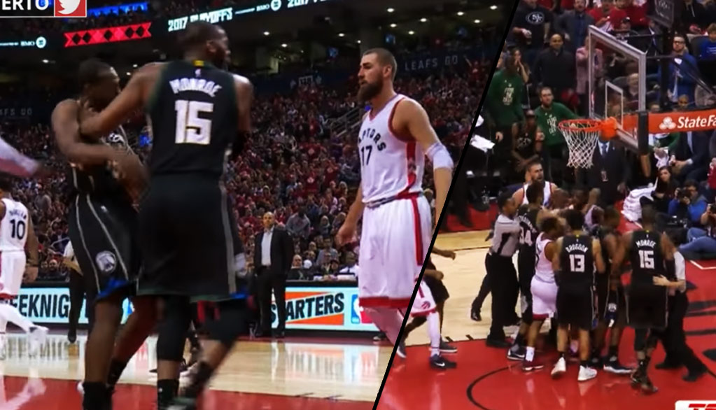 Greg Monroe Pushed His Own Teammate Out Of The Way So He Could Violate Jonas Valanciunas