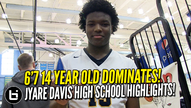 6'7 14 year old Jyare Davis Dominating HS Basketball!