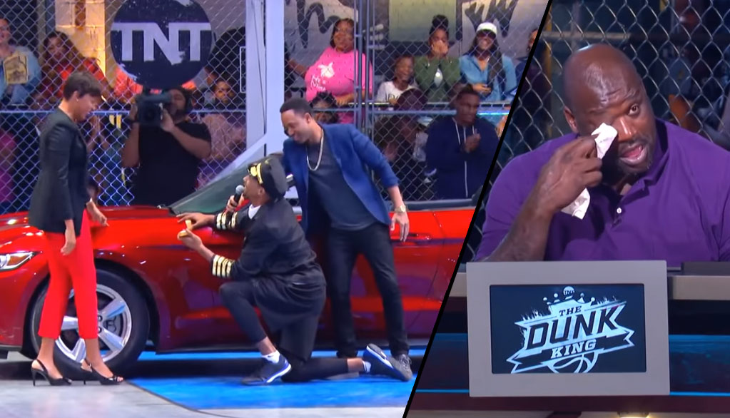 Guy Dunks Over A Car, Proposes To Girlfriend, Makes Shaq Cry & Wins $100K In Dunk Contest