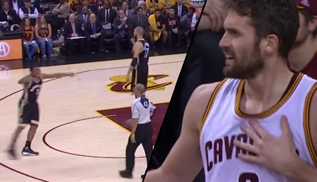 Kevin Love Gets A Tech After Kyle Lowry Complains To The Ref