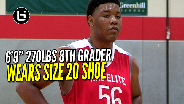 Kamryn Waites 6″9″ 8th Grader Wears SIZE 20 SHOE!!