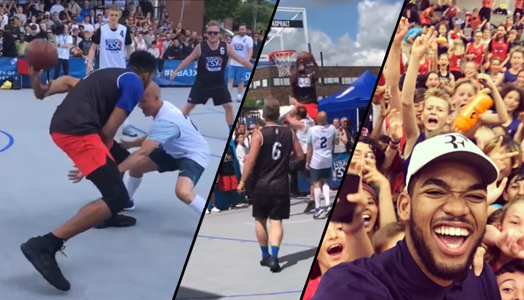 Karl-Anthony Towns Shows Off His Handles & Dunks on Defenders During 3-on-3 Game in Denmark