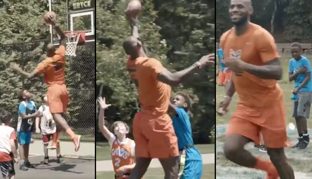 LeBron Is A Giant Kid At Bryce Maximus James' 10th Birthday Party
