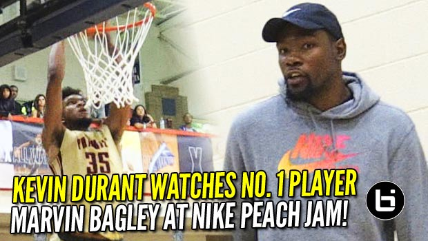Kevin Durant Watches #1 Player Marvin Bagley At Nike Peach Jam!! Game Highlights!