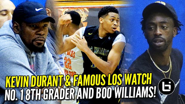 Kevin Durant & Famous Los Watch No. 1 8th Grader & Boo Williams at 2017 Nike Peach Jam!