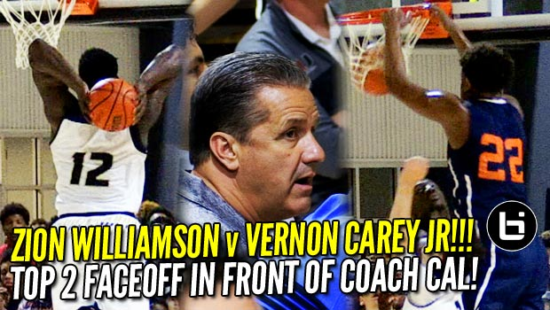 Zion Williamson v Vernon Carey Jr: Top 5 Prospects Battle in Front of Caoch Cal! Game Highlights!