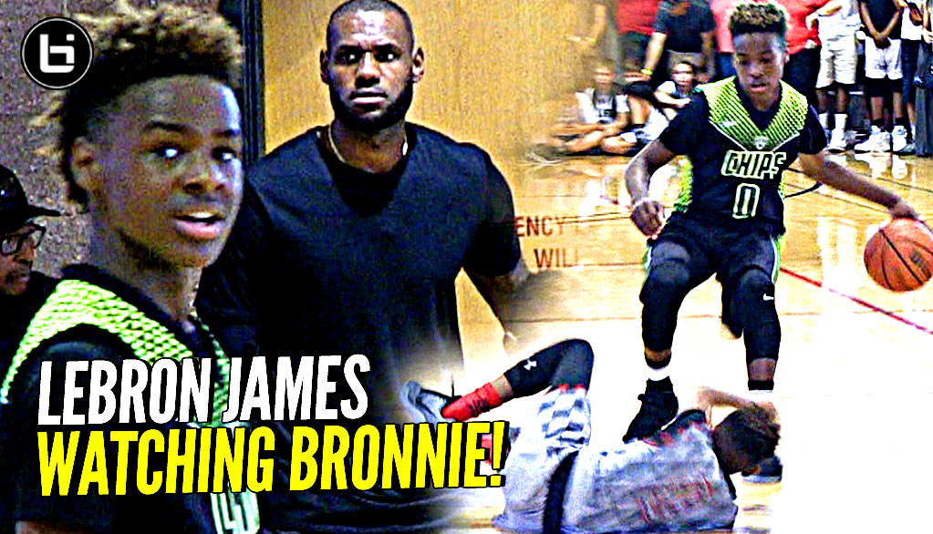 LeBron James watches Son Bronnie Play & Gets TOO HYPE! Blue Chips vs Team Billups