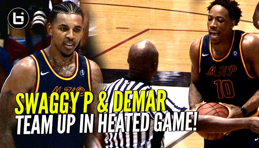 DeMar DeRozan & Swaggy P Team UP! DeMar Throws Ball AT REF In HEATED Drew League Game!