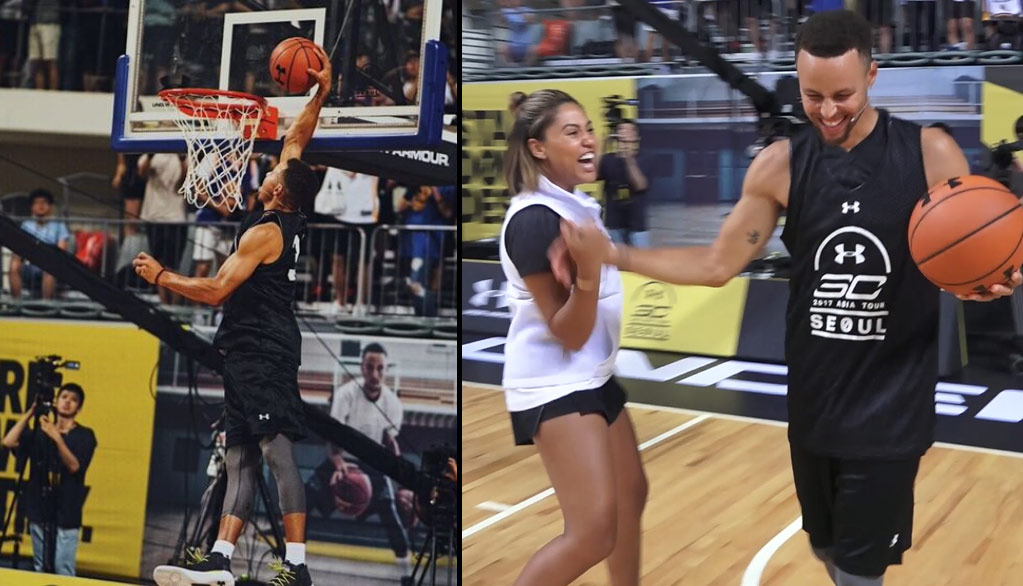 Steph Curry Throws Down Alley-oop Dunk From Ayesha Curry During Asia Tour