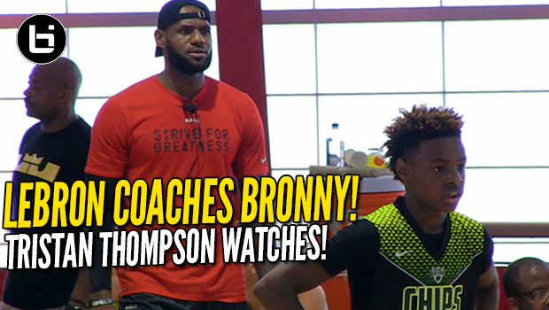 LeBron James Coaches Son LeBron Jr.! Tristan Thompson Watches! Full highlights!