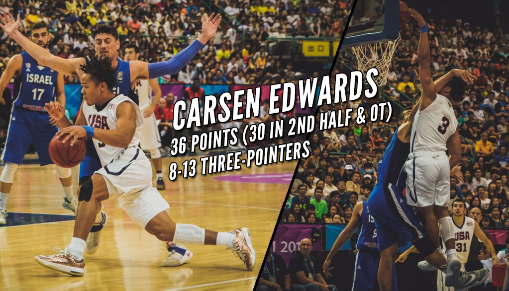 USA's Carsen Edwards Lights Up Israel with 30 2nd Half Points & 8 Threes