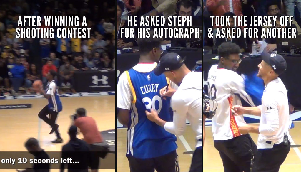 Fan Shockingly Wins Shooting Contest At The Buzzer Then Asks Steph Curry For Multiple Autographs