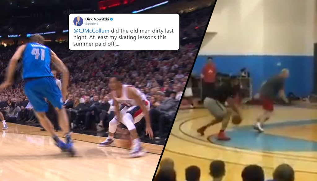 """CJ McCollum & A Coach Reenacted His """"Dirk In A Blender"""" Play At His Basketball Camp"""