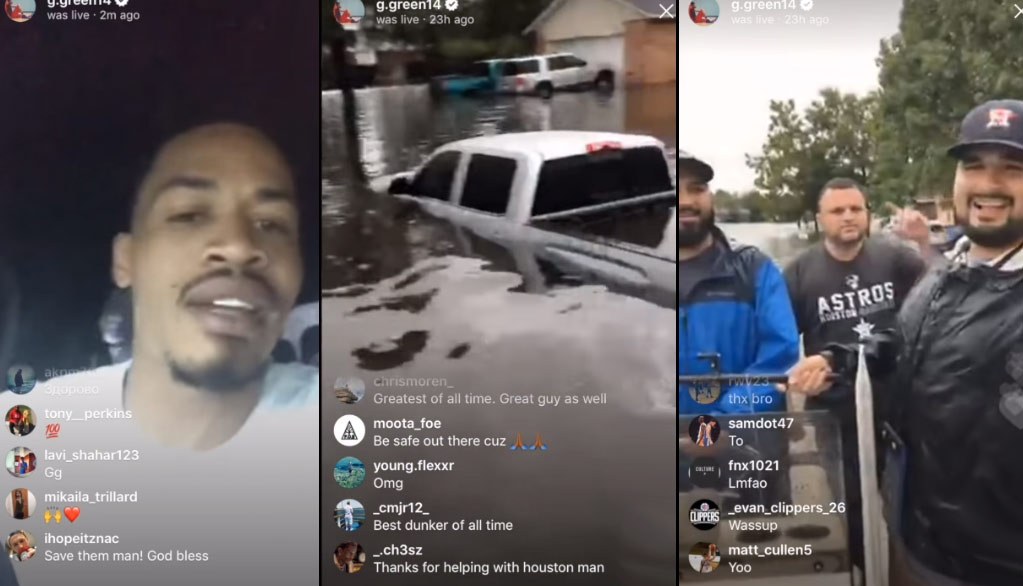 Gerald Green In A Boat Trying To Save Hurricane Harvey Victims